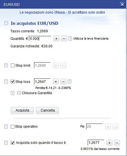 Esempio di trading sul Forex su Plus500, dettagli dell'operazione