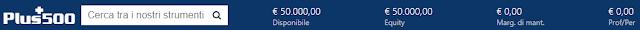 Lo stato del conto su Plus500
