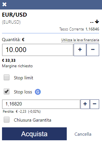 Come si usa lo stop loss su Plus500