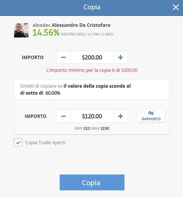 Impostazione del copy trading su eToro