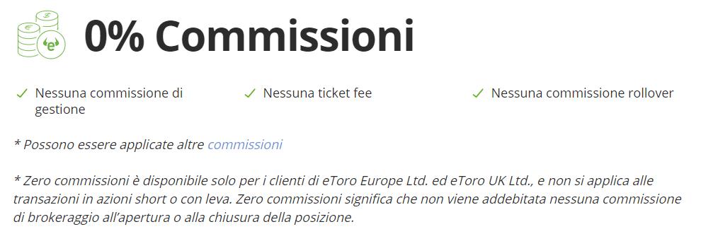 eToro zero commissioni